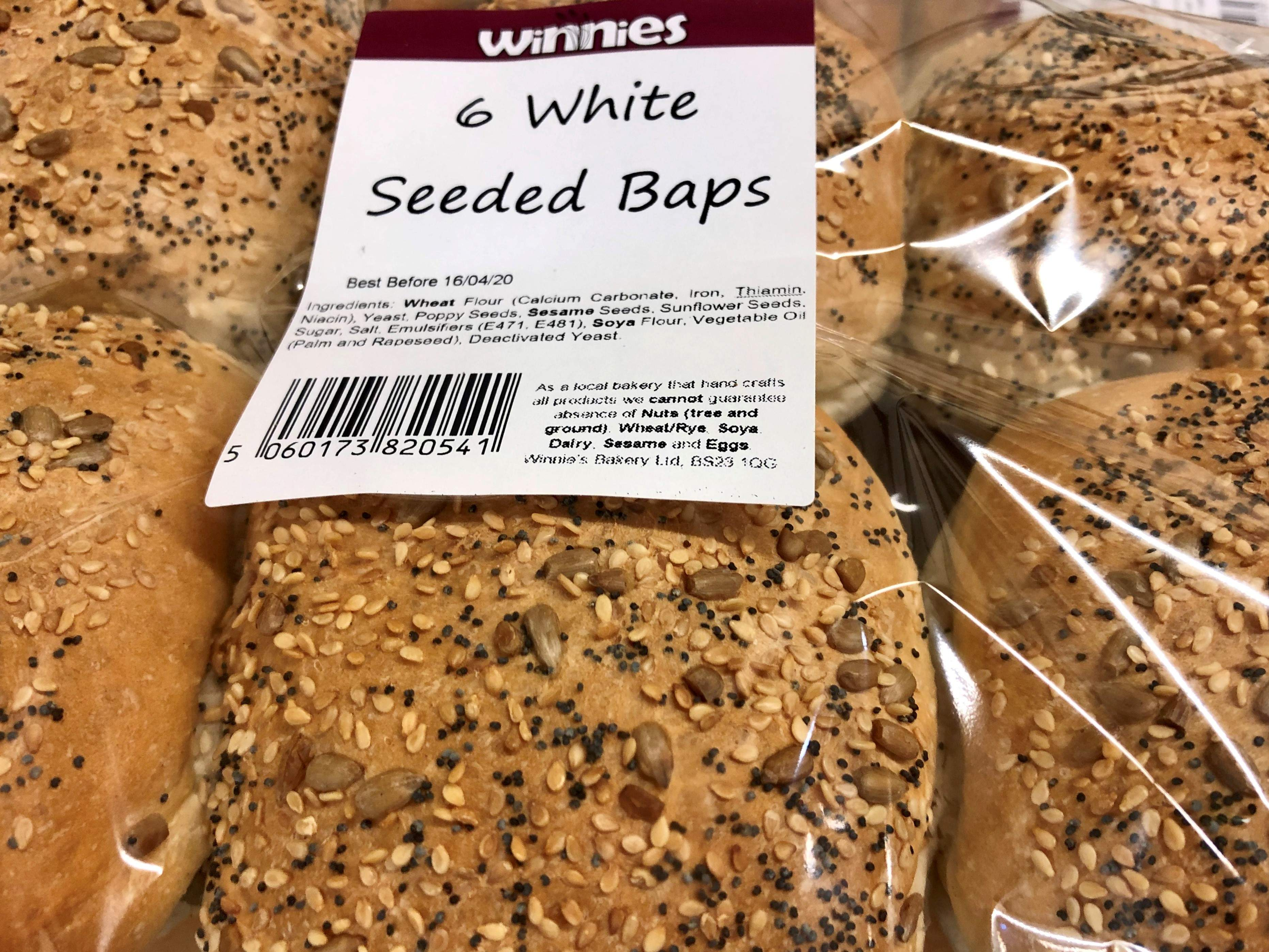 SIX SEEDED TOPPED WHITE BAPS