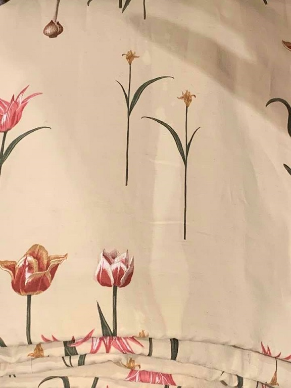 Cream Linen Tulip Design Pinch Pleat Curtains