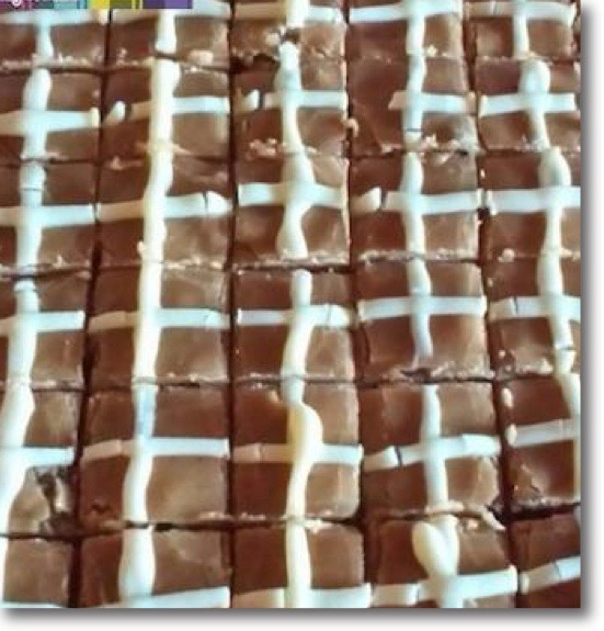 Hot Cross Fudge in squares, a Wee Sweetie Easter speciality sweet
