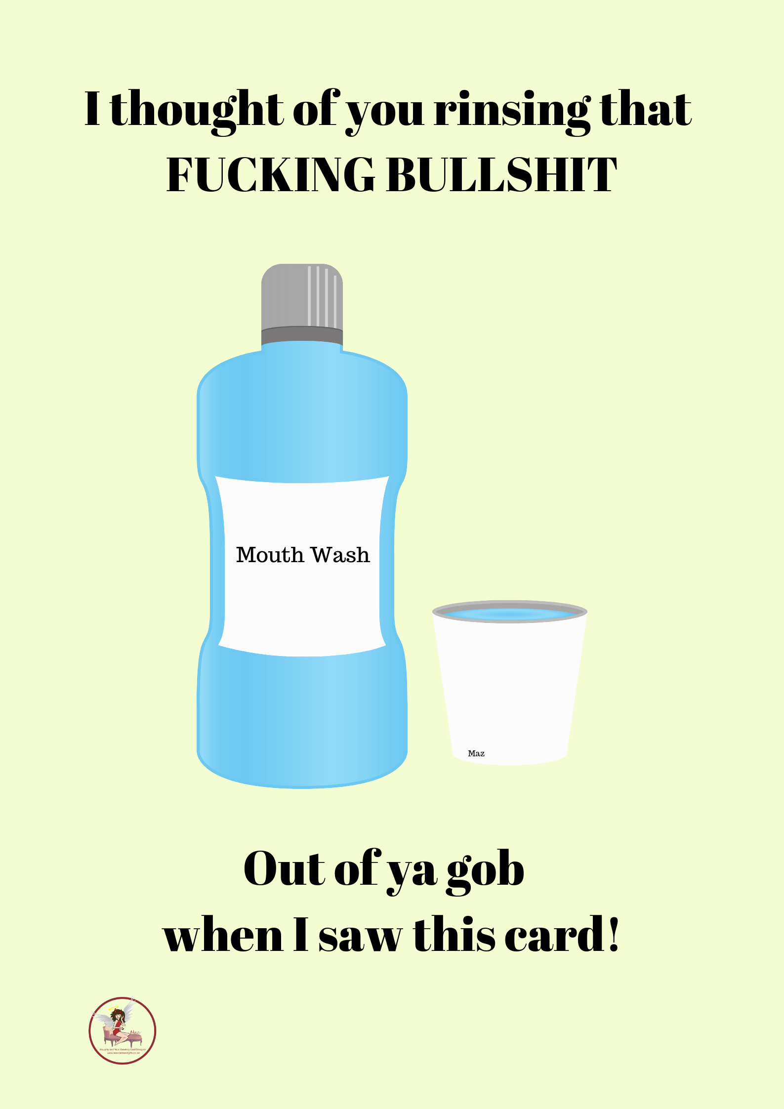 Adult Humour ~ Fucking Bullshit ~ Profanity Greeting Card ~ Order No 221