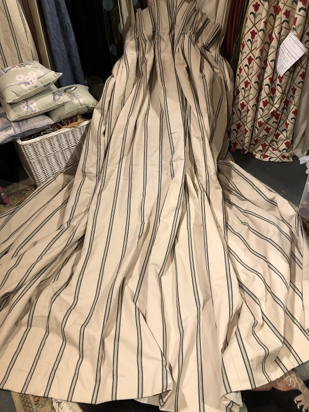 Large Cream Striped Ticking Pinch Pleat Curtains W310 D261