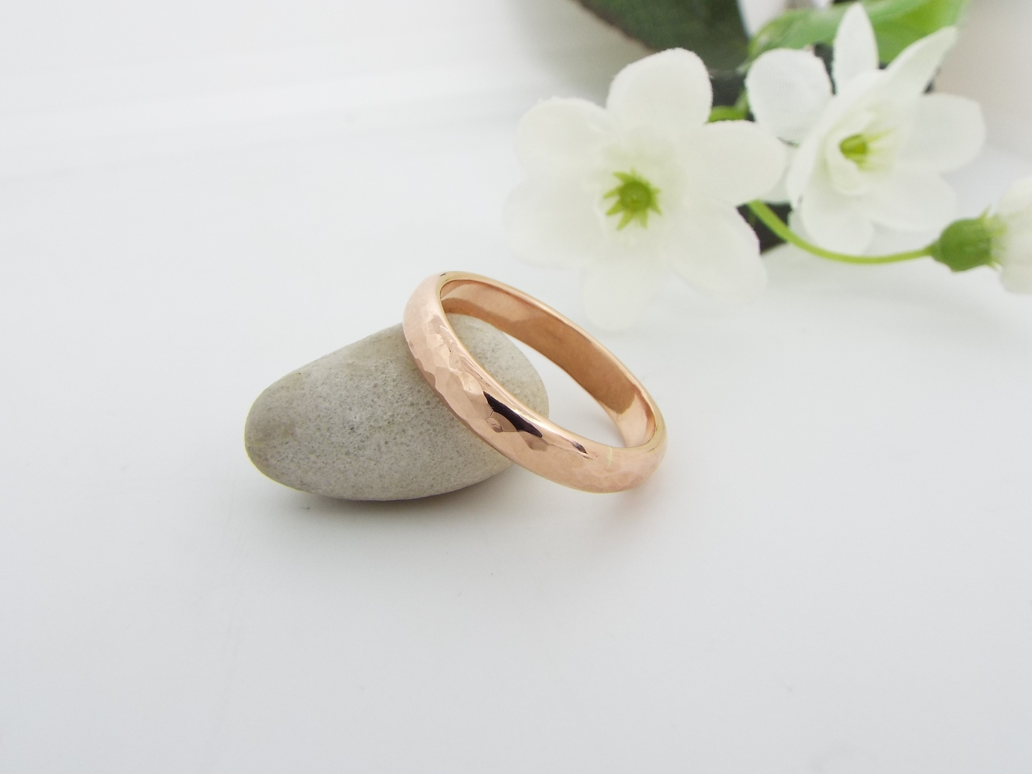 Hammered Rose Gold - Wide Wedding Ring