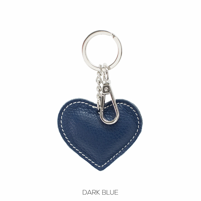 Leather Heart Key-ring in Navy