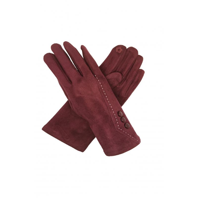 Classic Maroon Gloves with Buttons