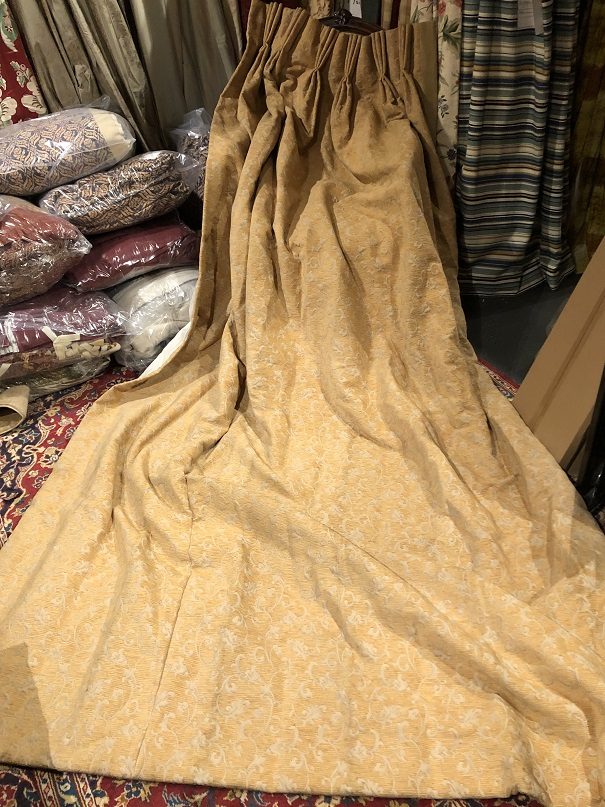 Cream/Yellow Long Damask Pinch Pleat Curtains W174 D280