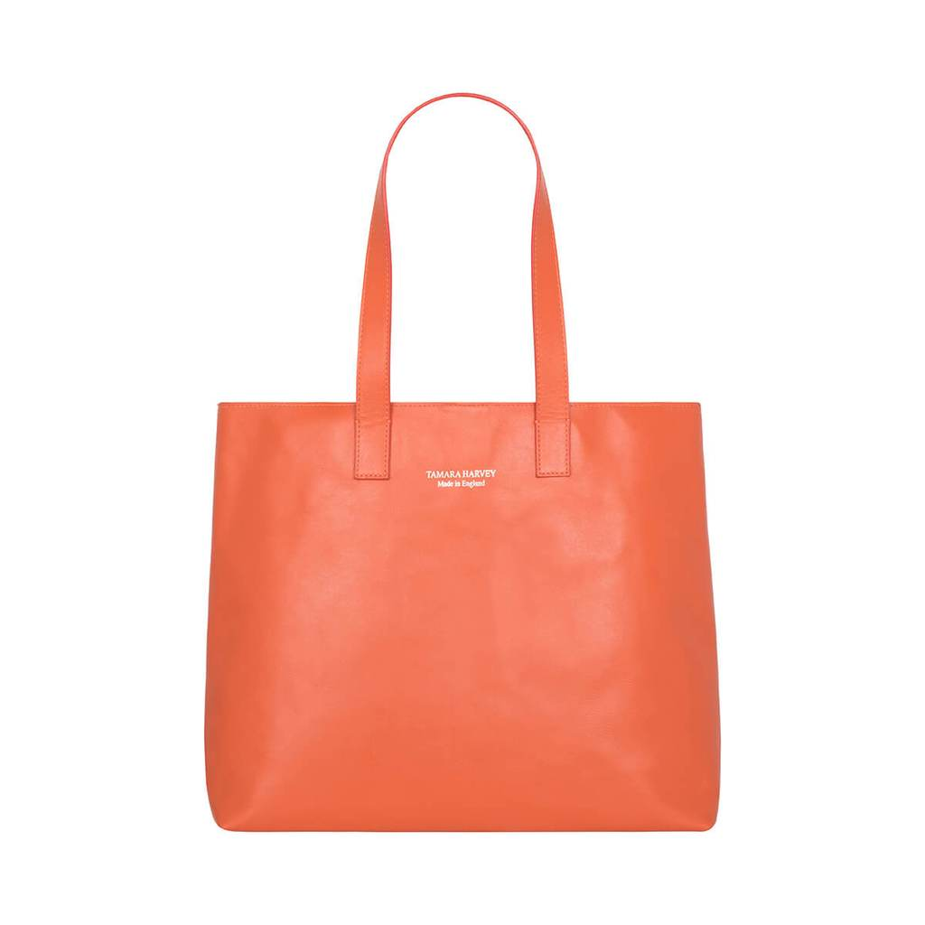 Orange Leather Tote Bag