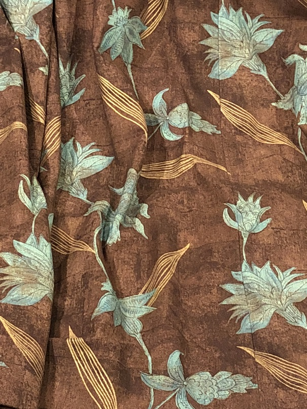 Large mottled brown eyelet interlined curtains W559 D224