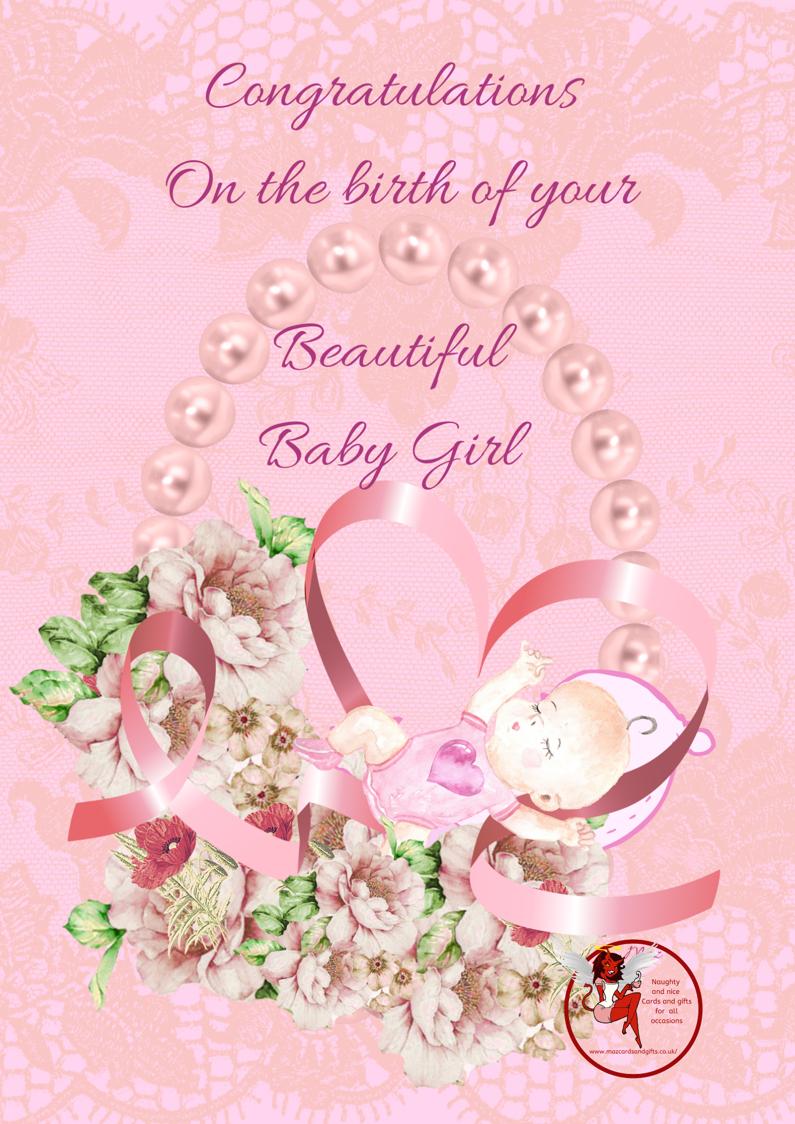 New Baby - Birth of a baby Girl - Flowers Pearls and ribbon - Order No 072