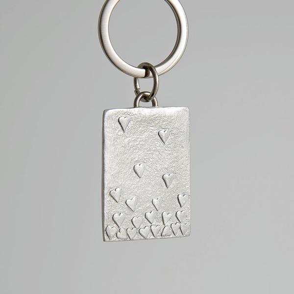 Pewter Key Ring - Floating Hearts