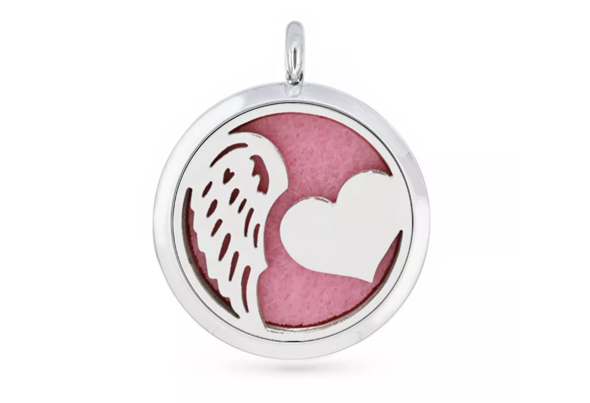 Aromatherapy Diffuser Pendant - Heart and wing - 30mm