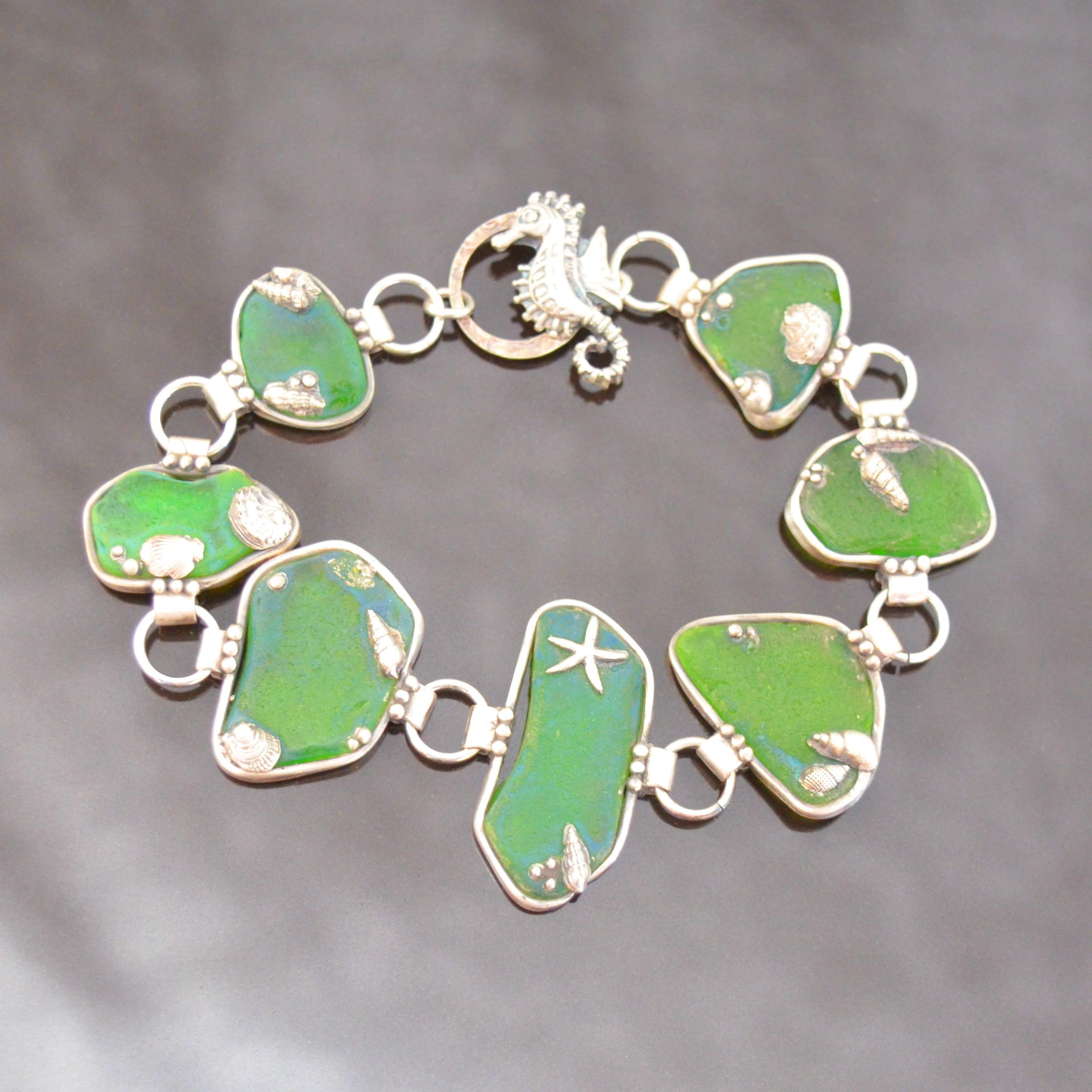 Sea Glass Silver Clay Rock Pool Bracelet by Tracey Spurgin of Craftworx Jewellery Workshops
