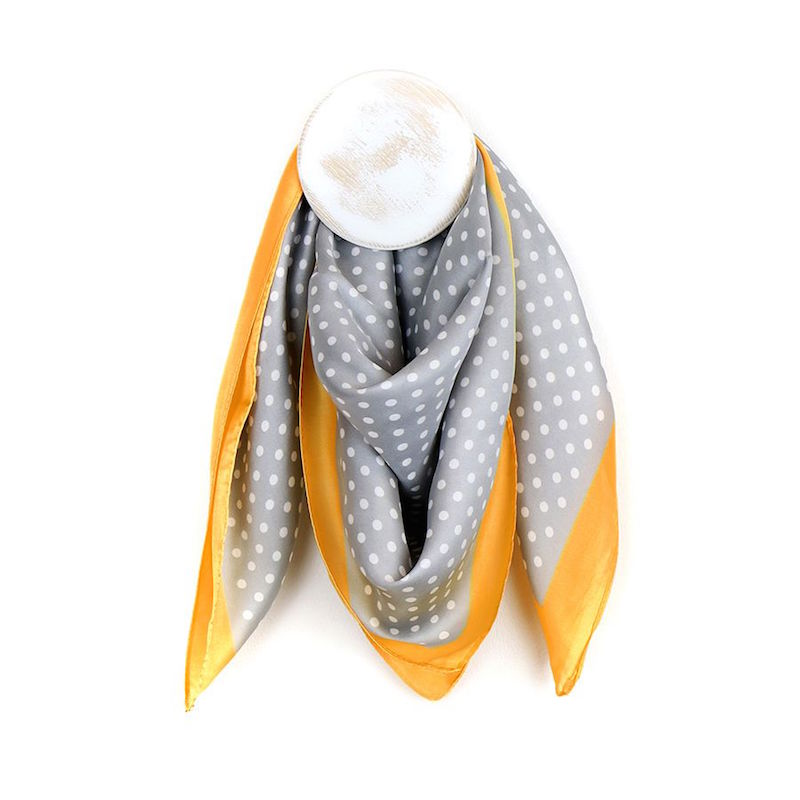 Dotty Grey and White Scarf with Mustard Yellow Border
