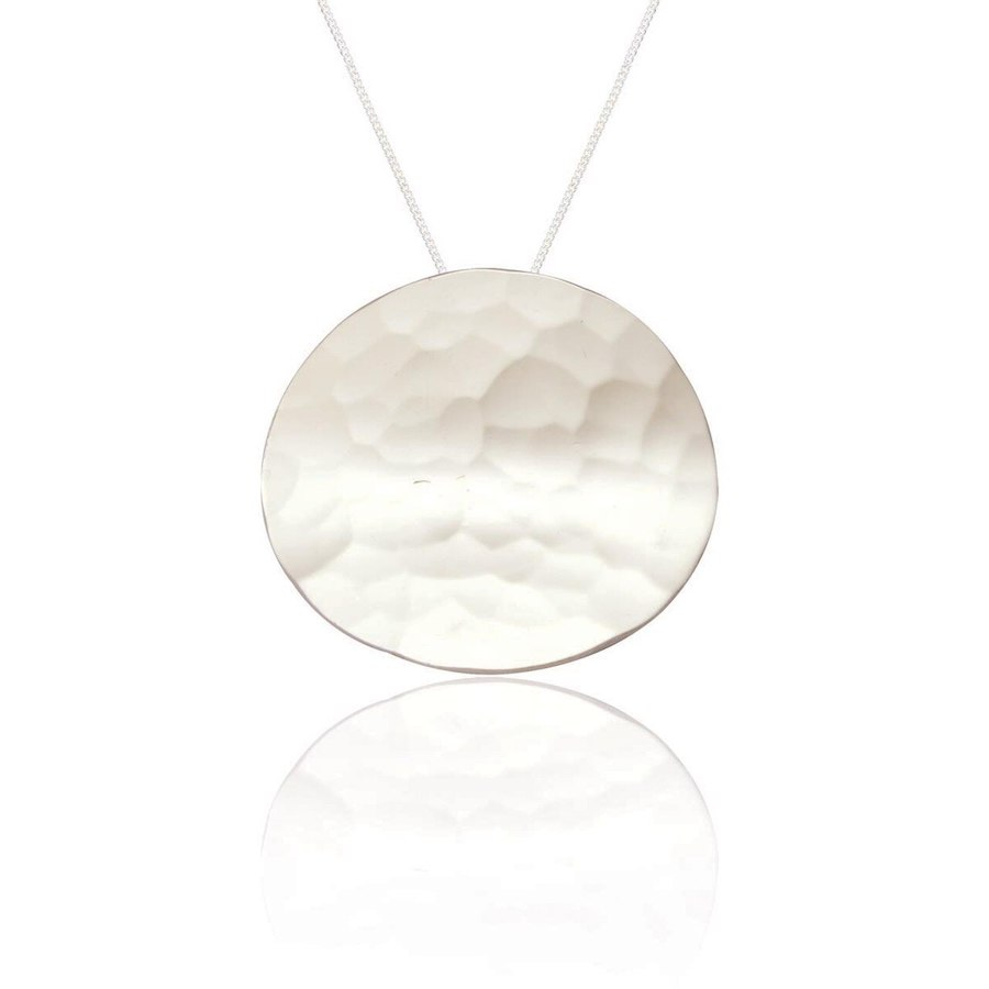 Silver Circle Necklace with a Hammered Finish