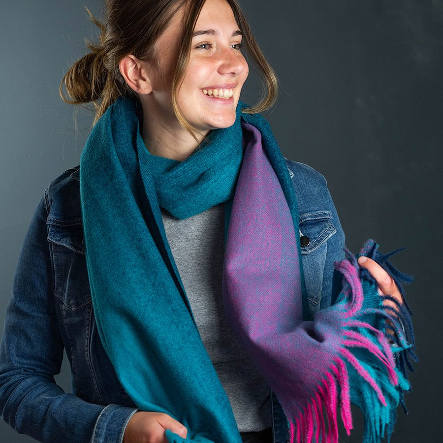 Teal Ombre Scarf with Fringes