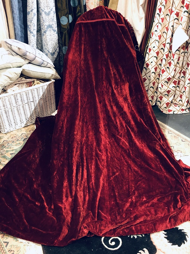 Lovely Vintage Burgundy Silk Velvet Curtains W261 D231