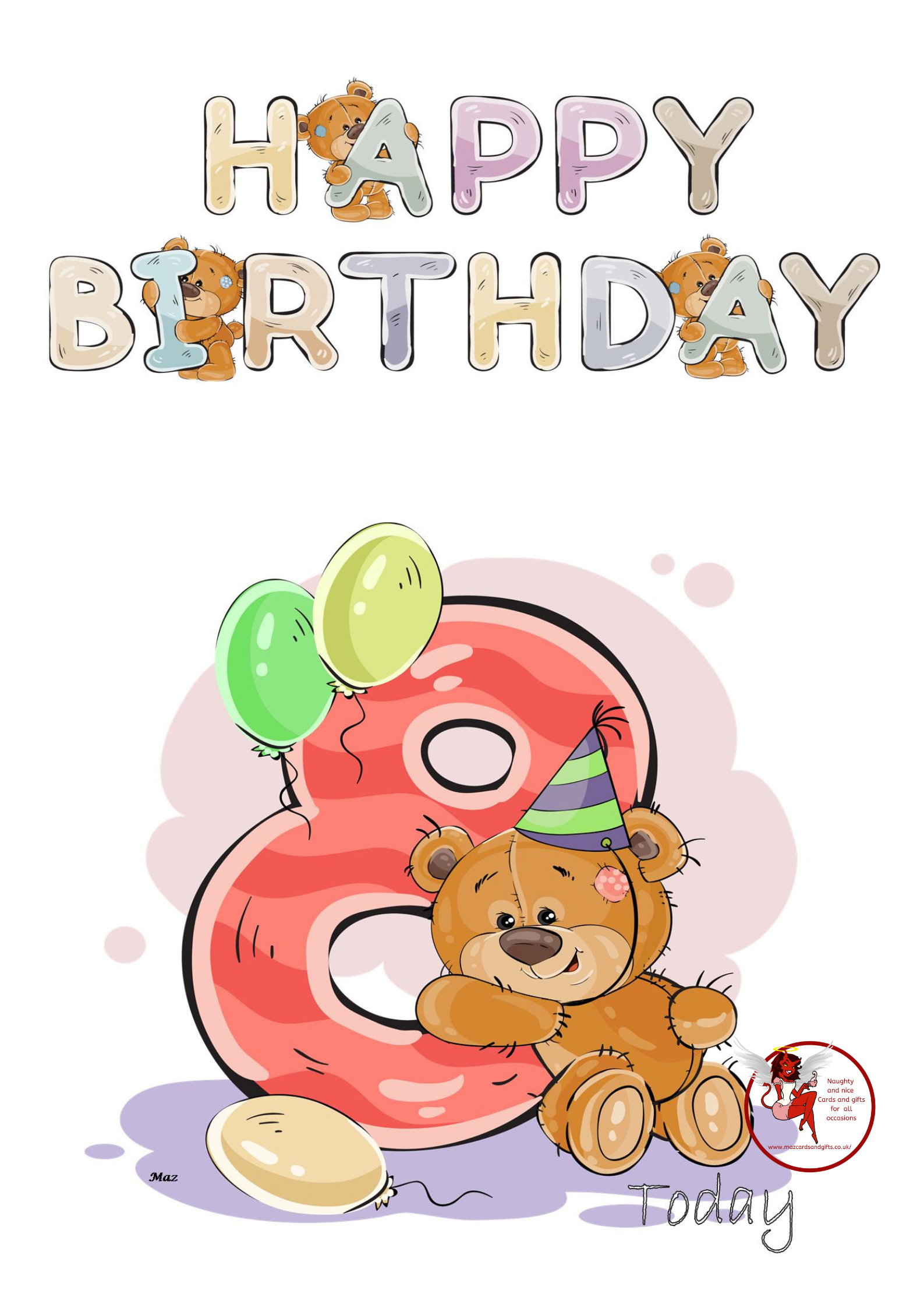 Birthday Children - Water Colour Teddy Age 8 - Order No 047