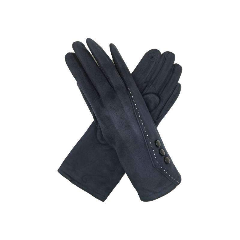 Classic Navy Gloves with Buttons