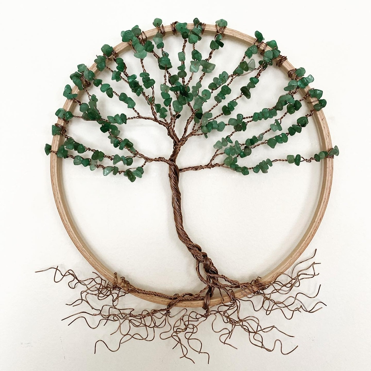 Antique bronze and aventurine tree of life