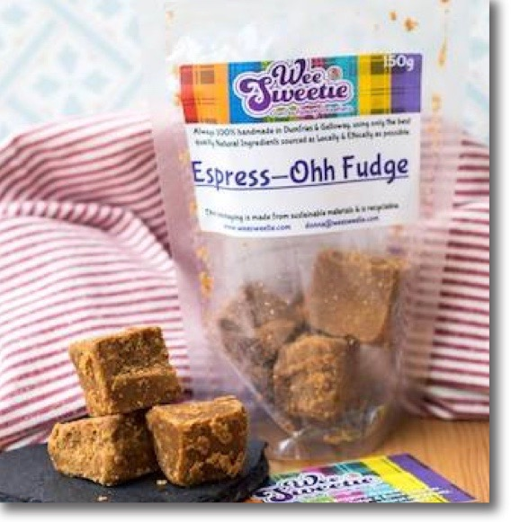 A bag and some loose squares of Espress-Ohh Fudge