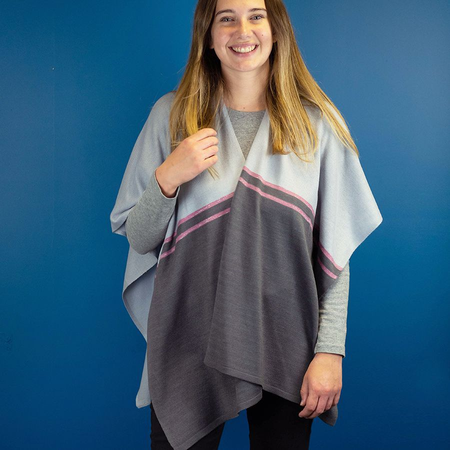 Heather & Charcoal Wrap with Lurex Stripe