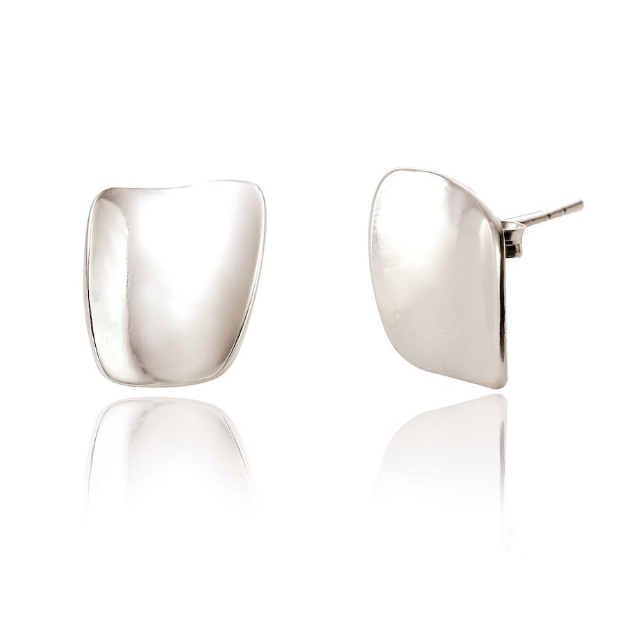Oblong Stud Earrings with Polished Finish