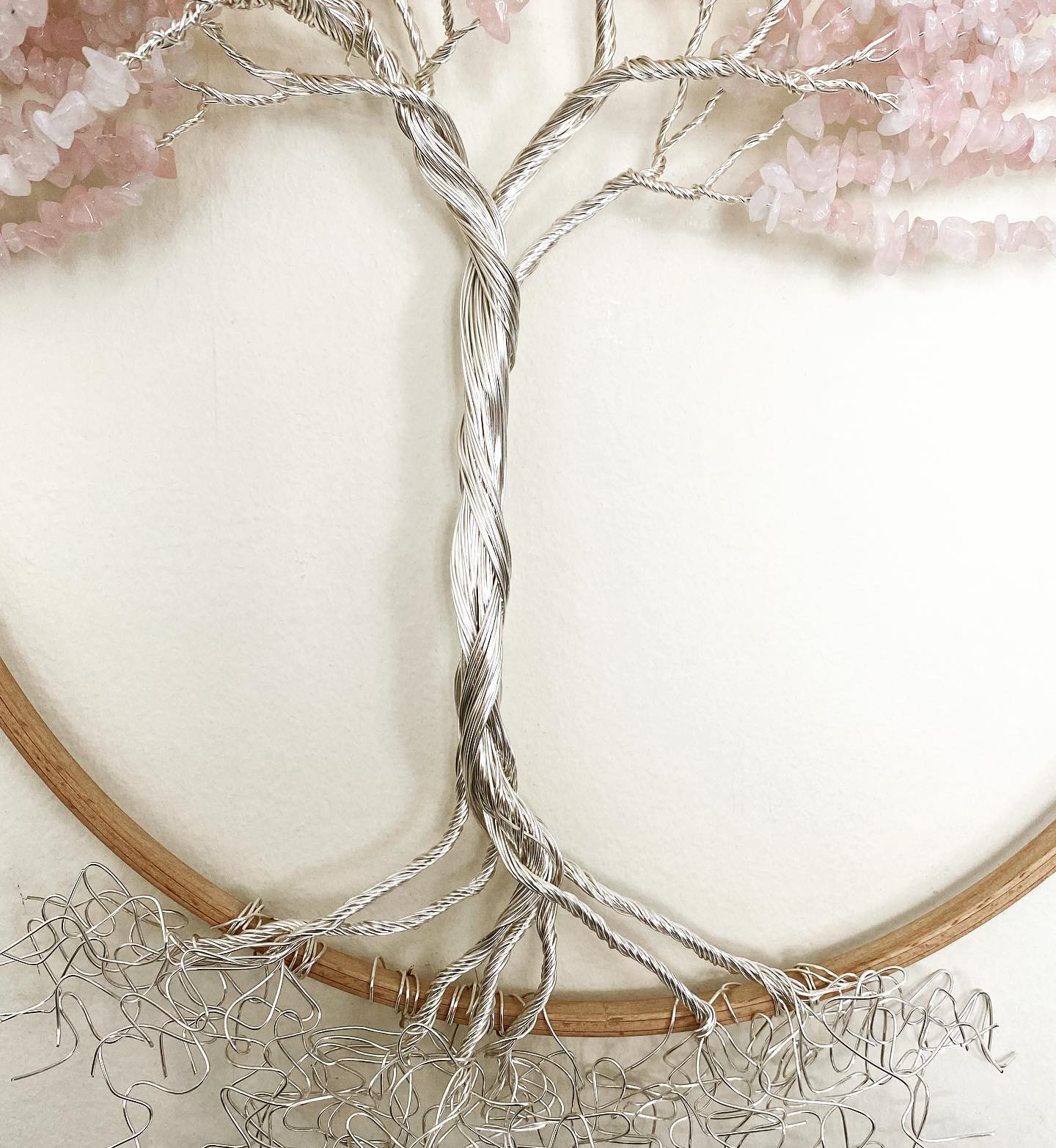 "12"" framed tree of life using silver and rose quartz"