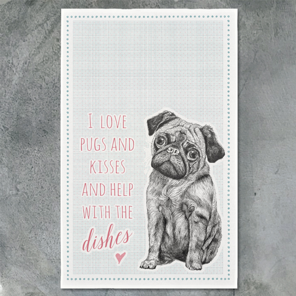 Pugs & Kisses Tea Towel