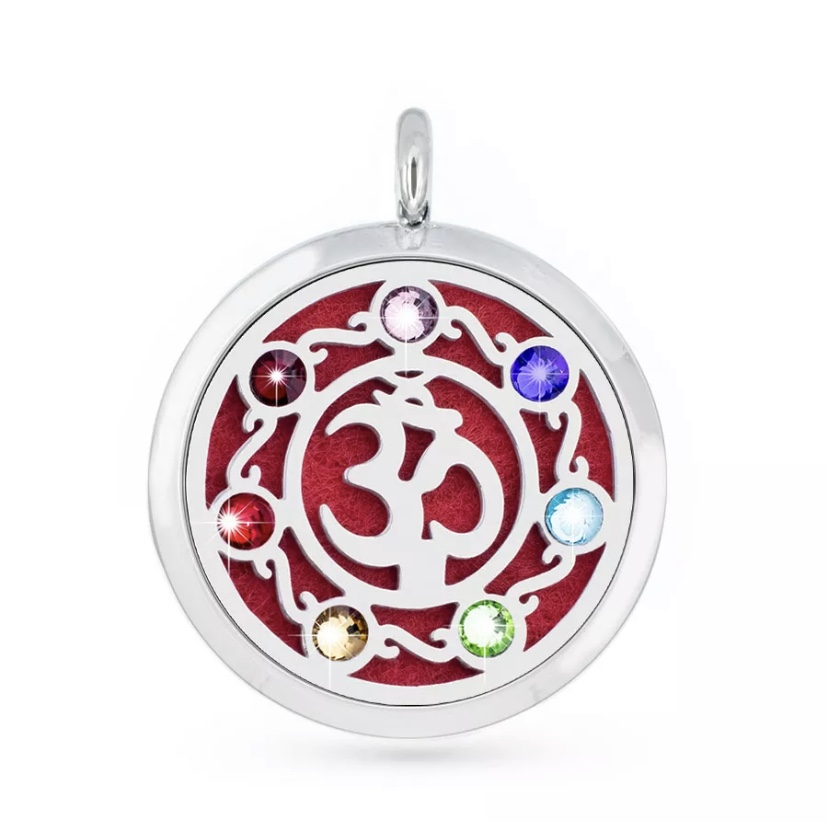 Aromatherapy Jewellery Pendant - OM Chakra with stones - 30mm