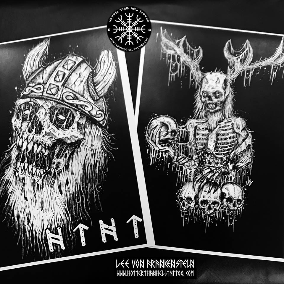 A3 Viking Skull and Horned God Prints