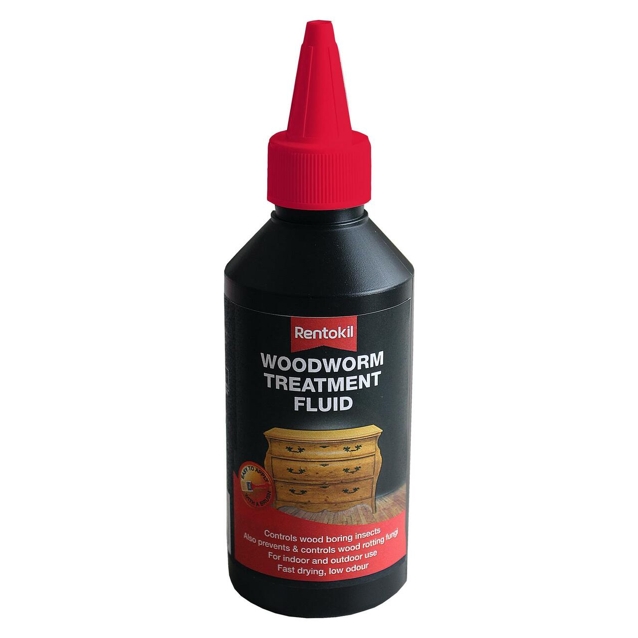 Rentokil Woodworm Wood Boring Insect Treatment Fluid, Indoor/Outdoor Use  250ml