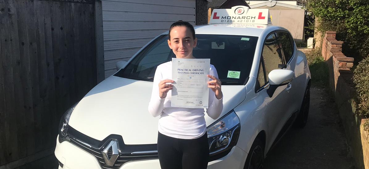 girl with pass certificate at Hornchurch driving test centre