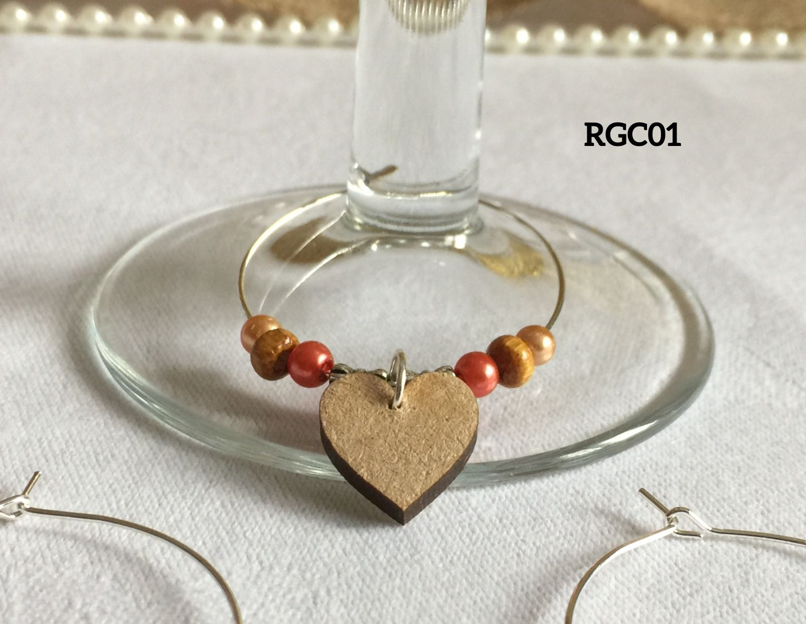 Rustic Wooden Heart Wine Glass Ring Charm