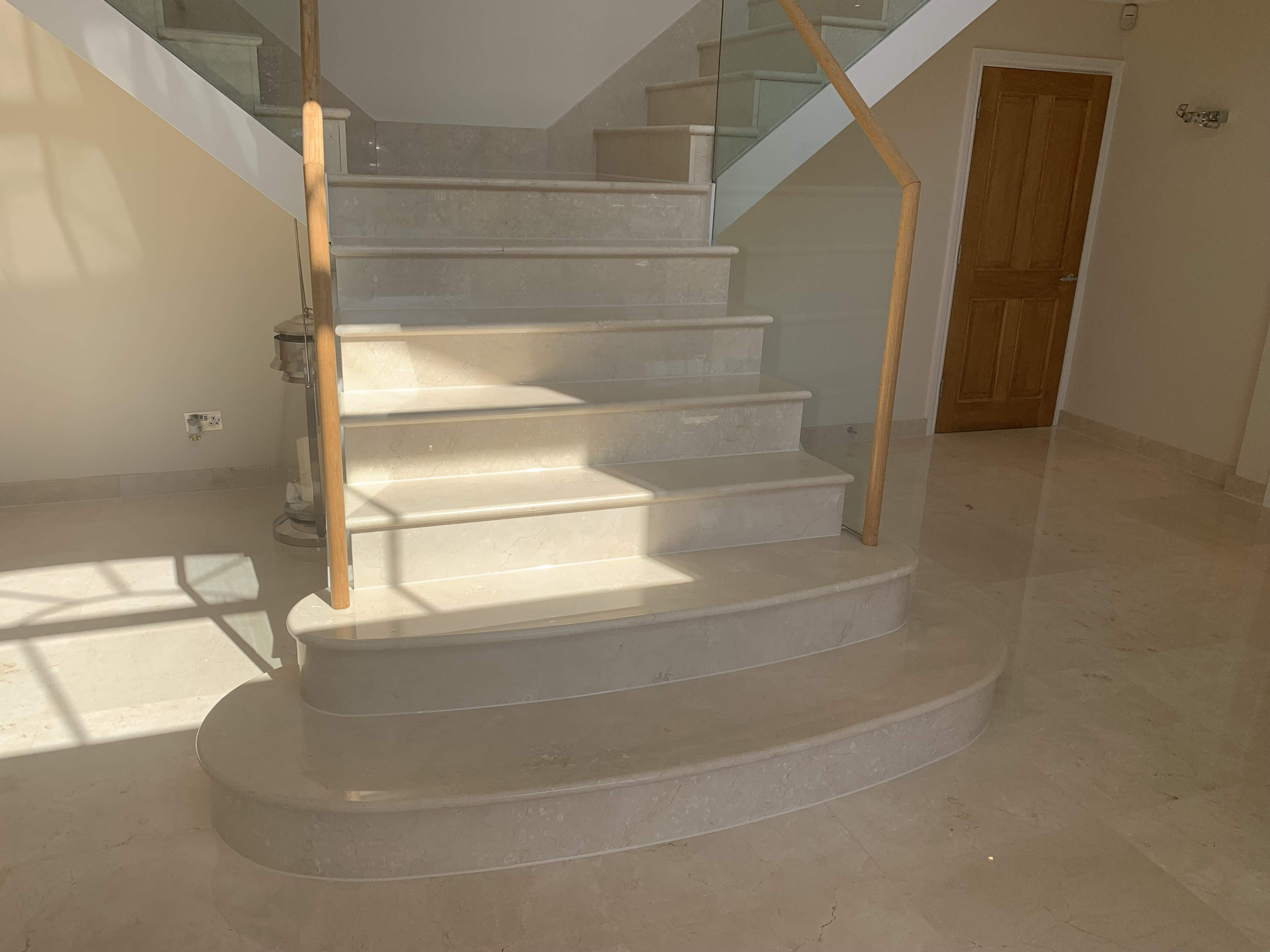 polishing marble staircase