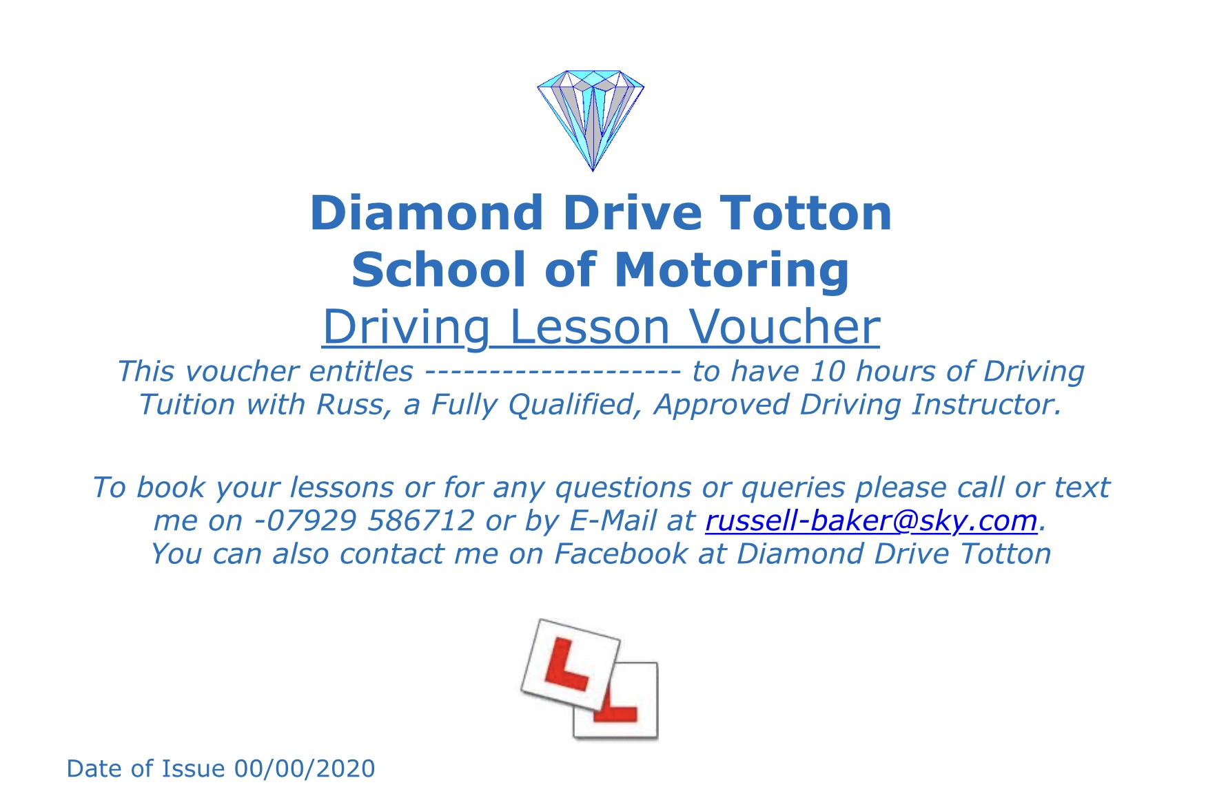 10  hour Driving lesson Gift Voucher