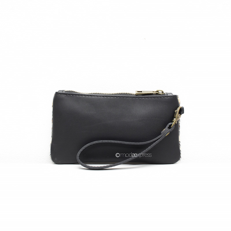 Pony-skin Leather Purse in Black