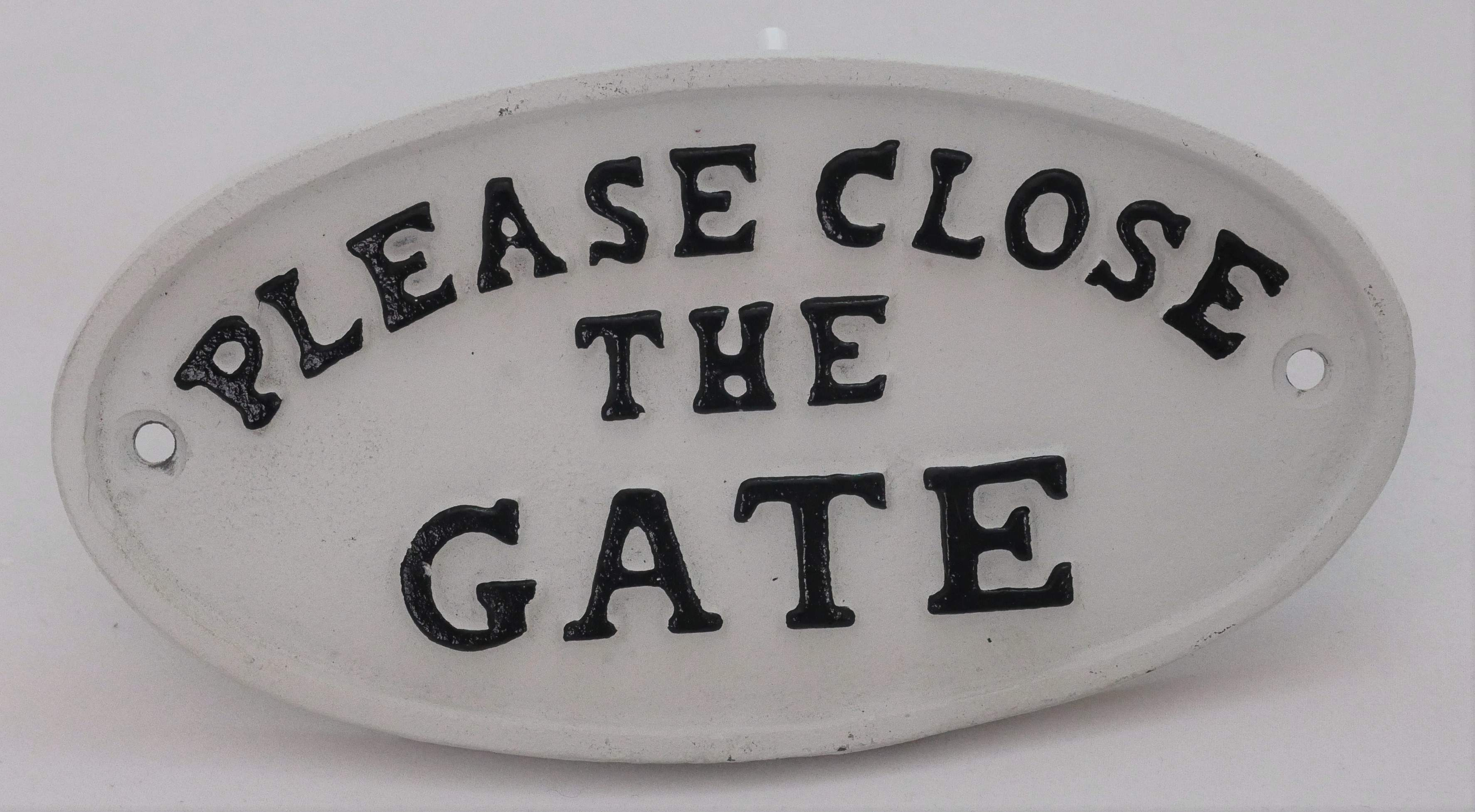 Please Close The Gate cast iron wall plaque.