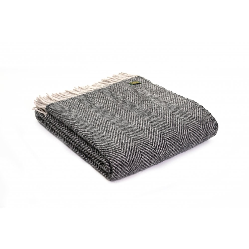 Charcoal & Silver Grey Pure New Wool Throw
