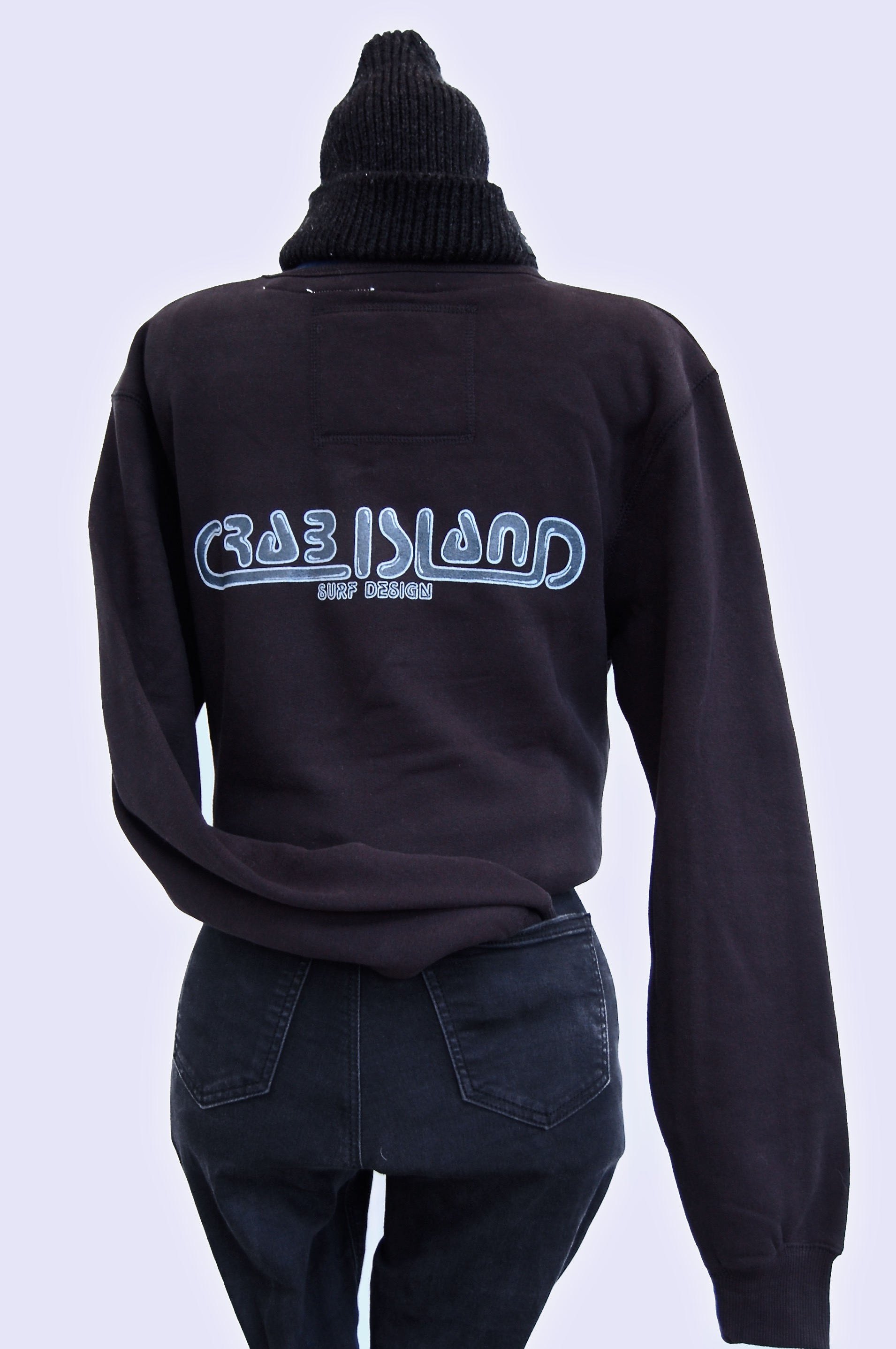 Black jumper with Crab Island Surf Design logo