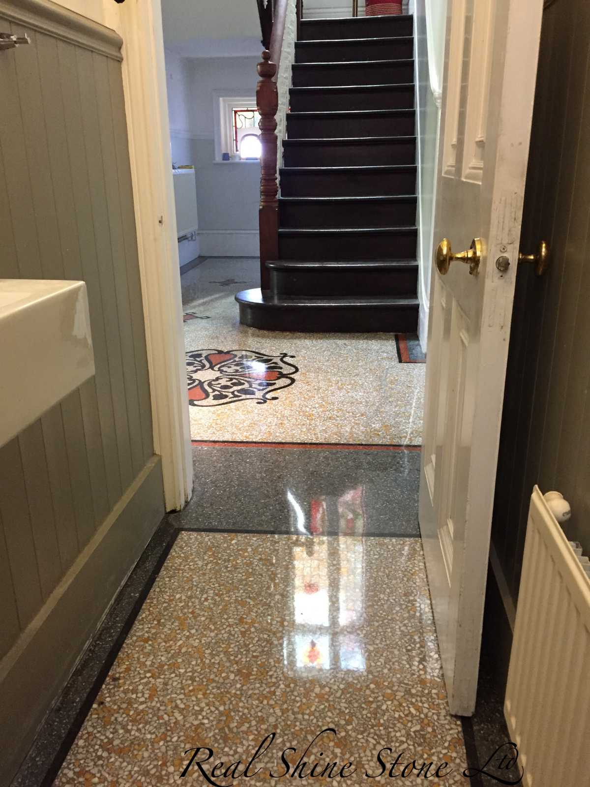Polished terrazzo floor picture after