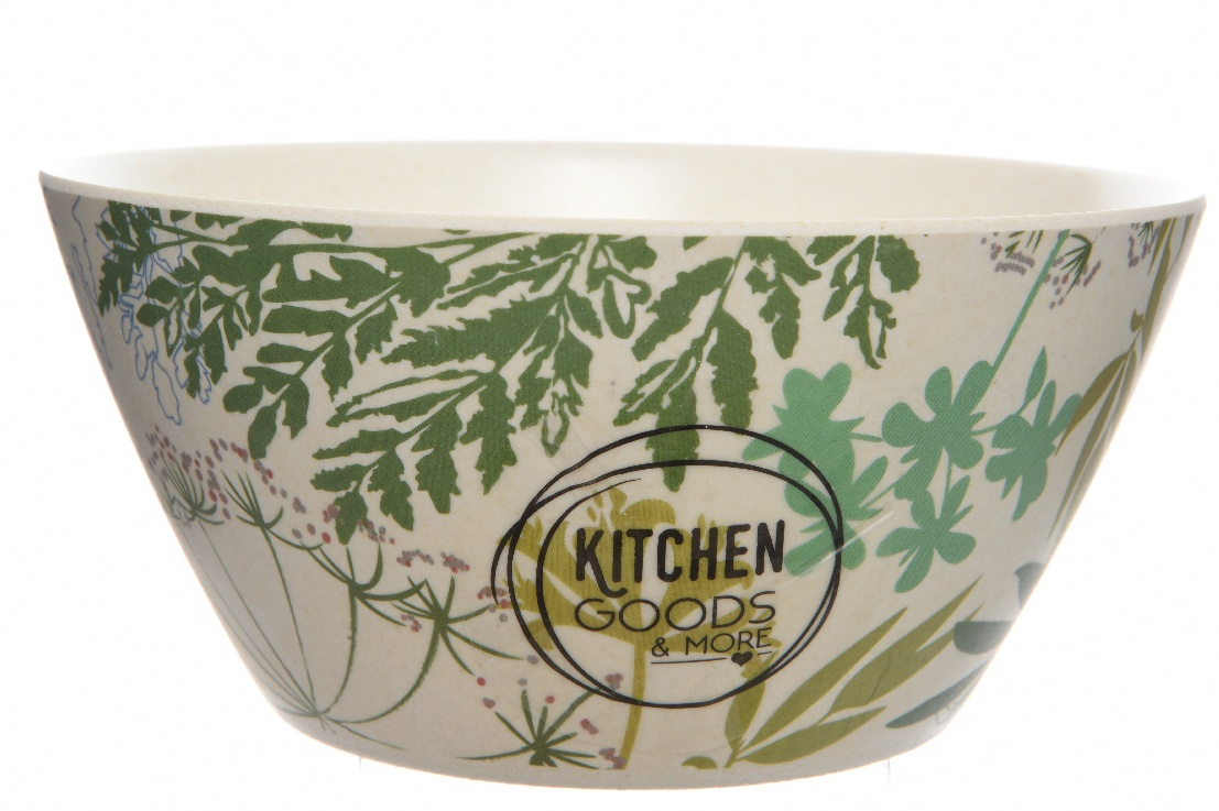 Bamboo Bowl with Botanical Print ROS008