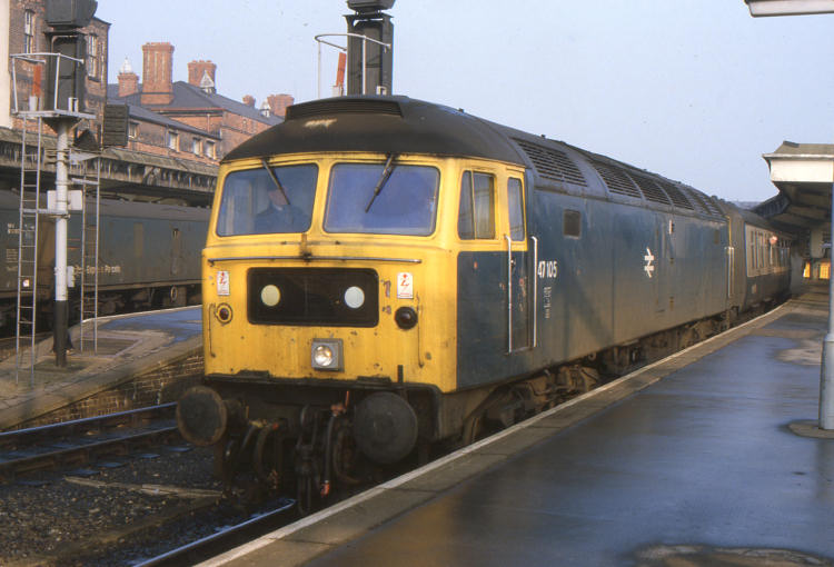 47105 at Derby with the 0820 Leeds - Birmingham - 18/02/84   (John Goodale)