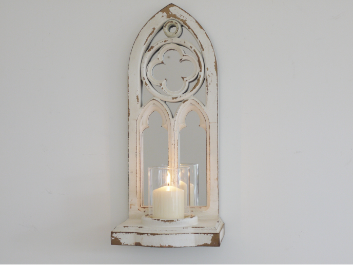 Arch candle holder with mirror