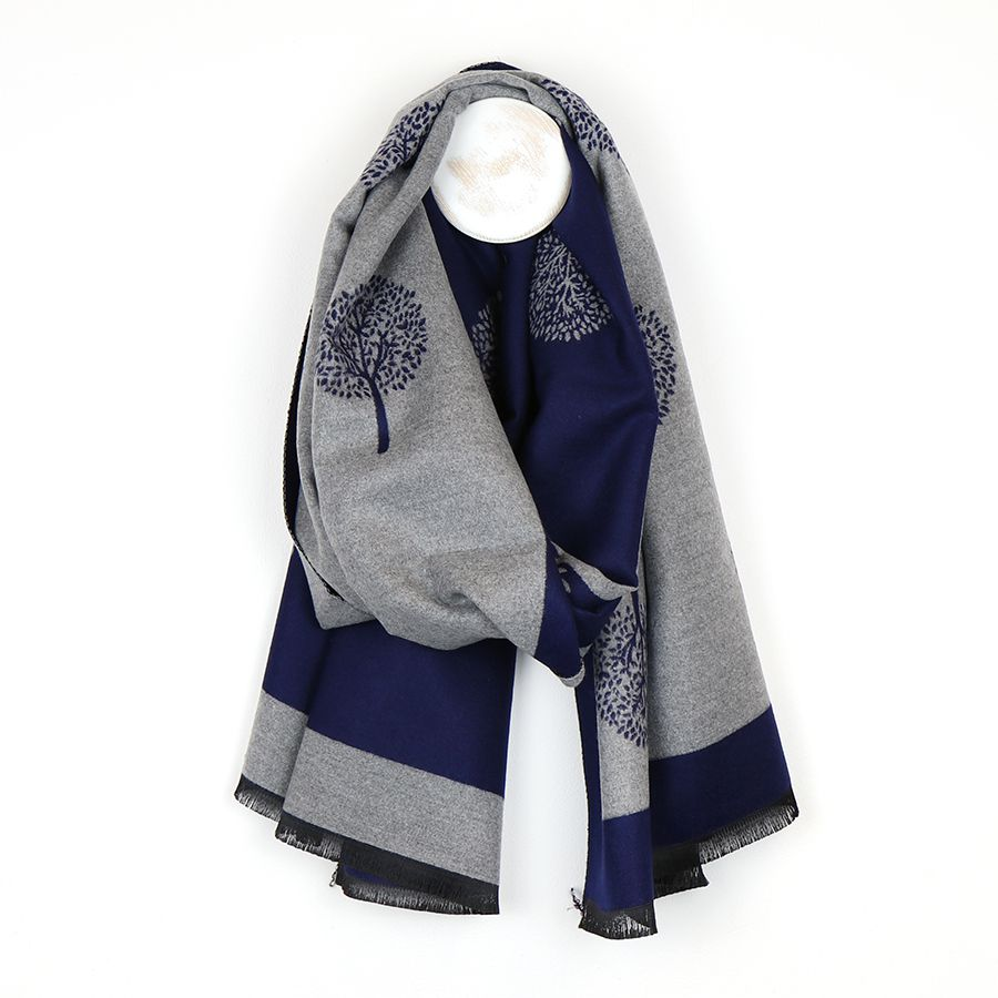 Reversible Navy/Grey Scarf with Tree of Life Motif