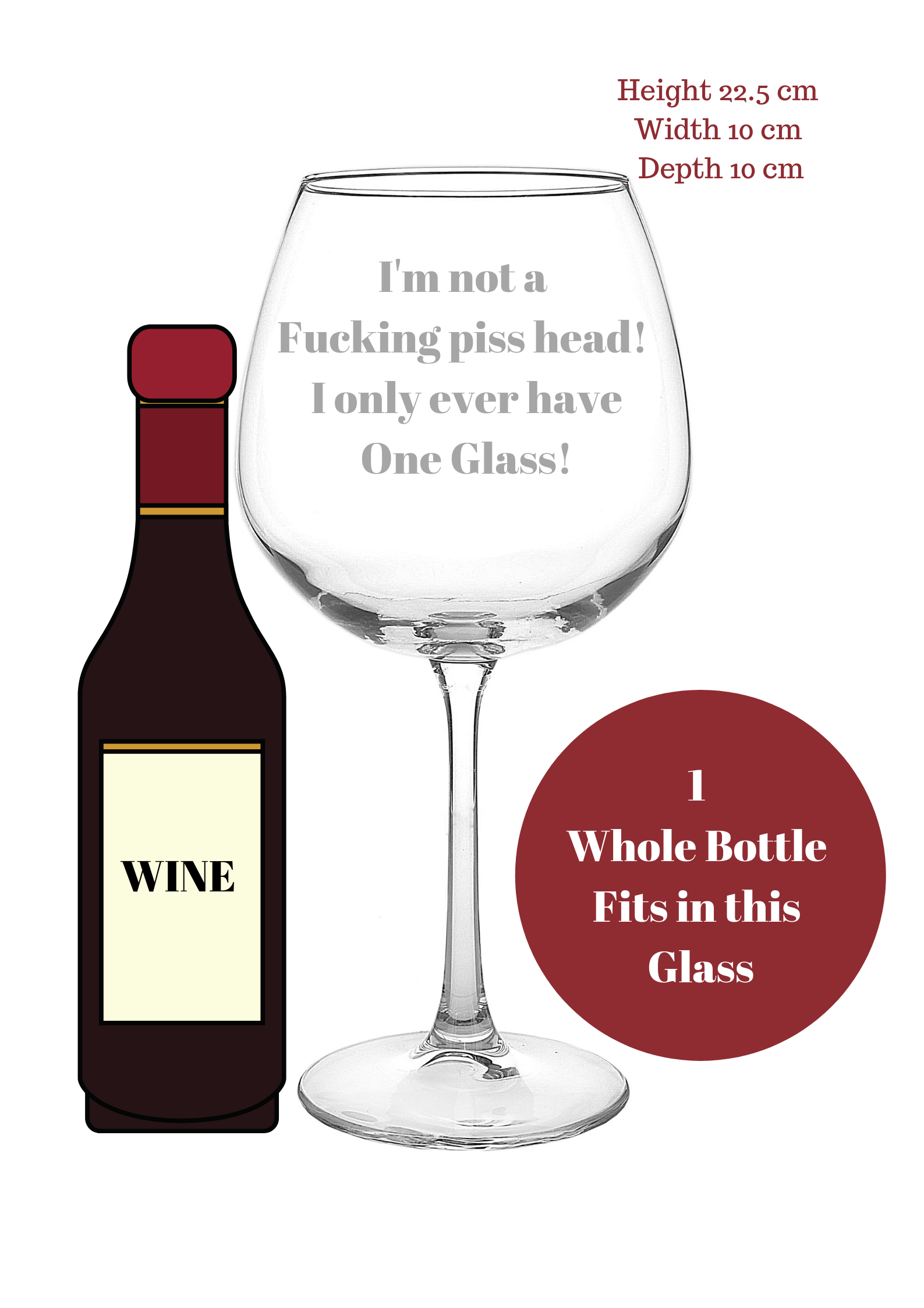 Adult Humour Gift - 1 whole bottle of wine glass - Order No 101