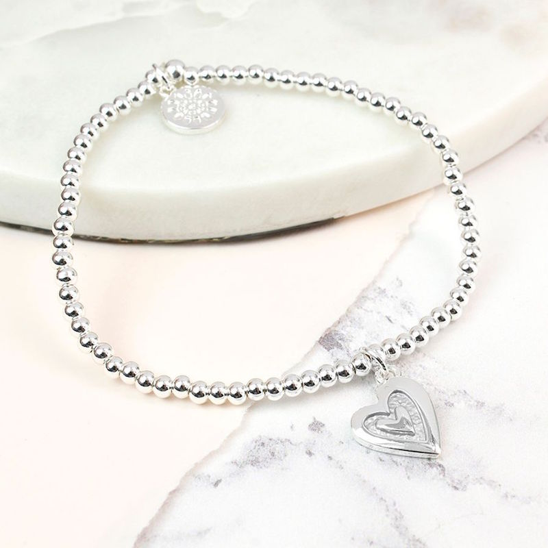 Stretchy Silver Bracelet with Grey Enamel Silver Heart