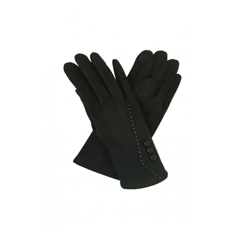 Classic Black Gloves with Buttons