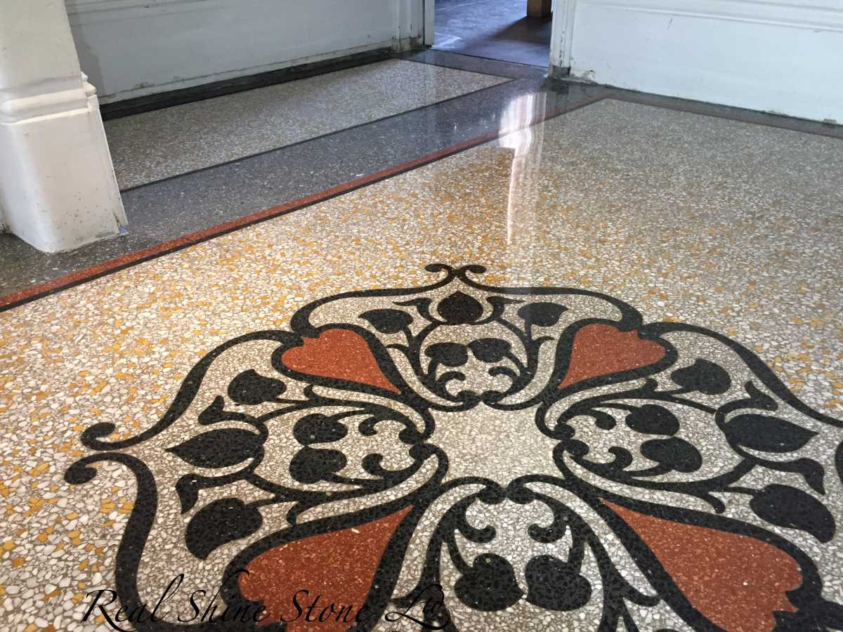 Restoring 120 years old terrazzo floor - picture after