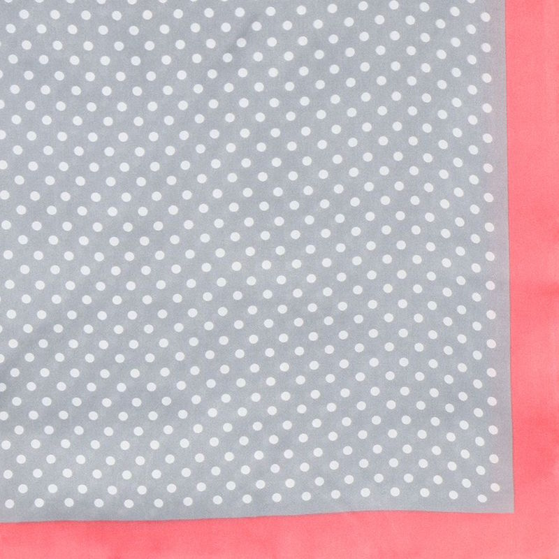 Dotty Grey and White Scarf with Pink Border