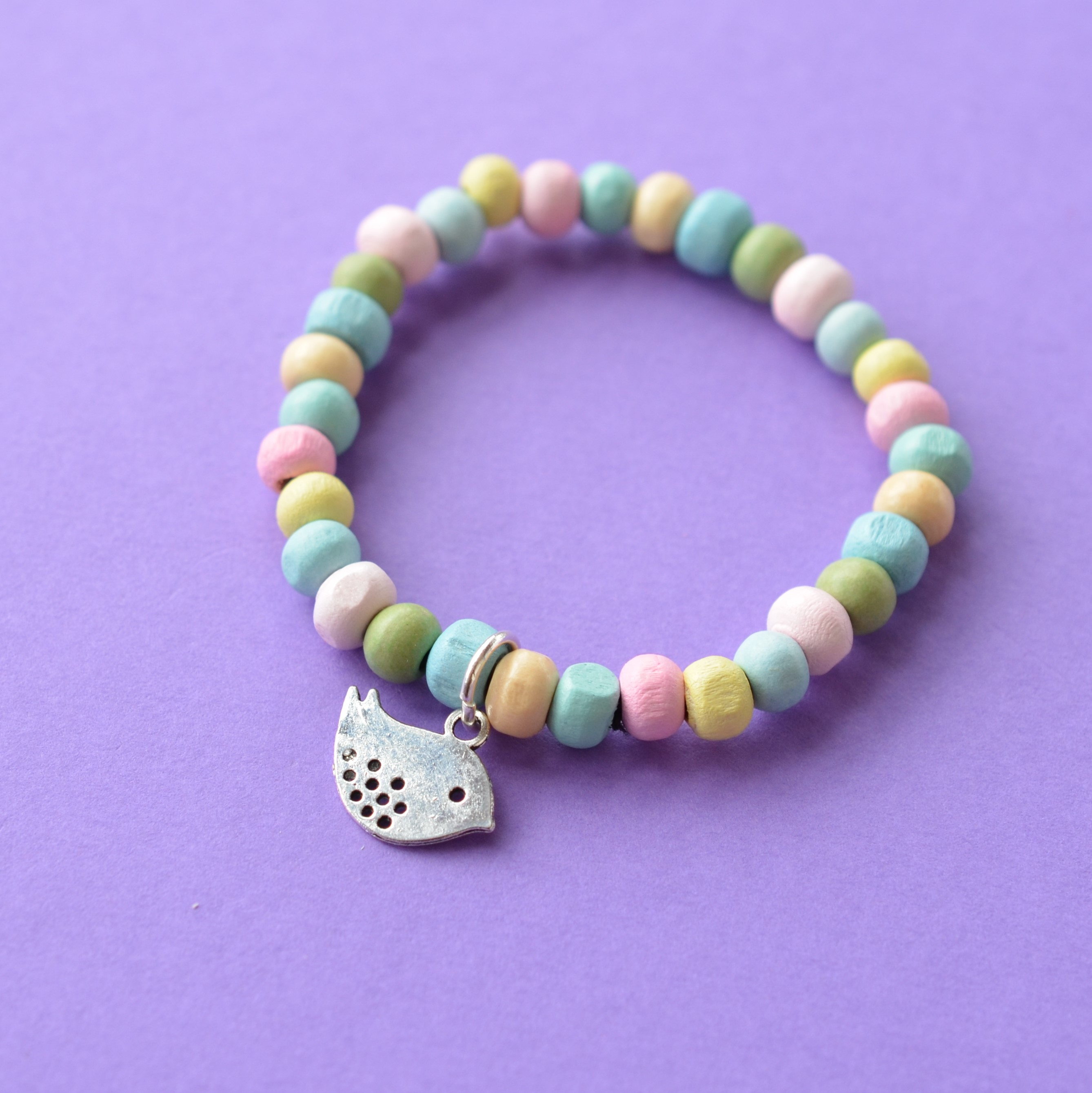 Bird Colourful Child's Wooden Bead Charm Bracelet