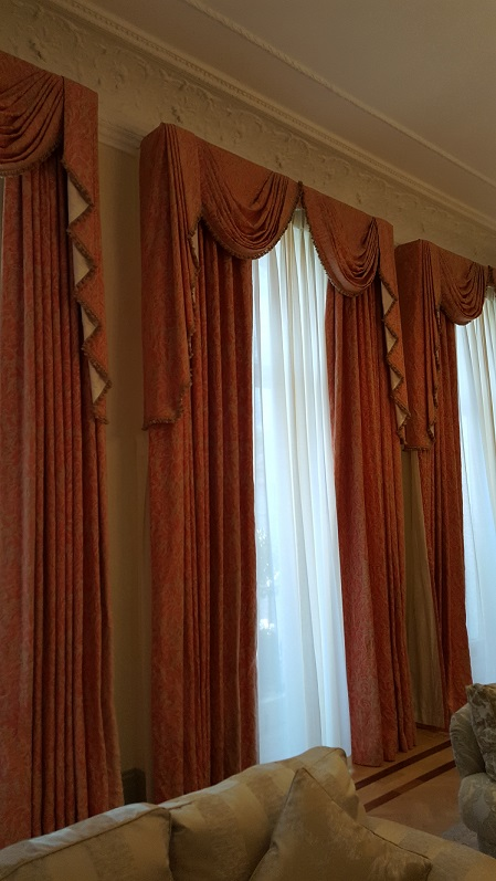 Very long Cinnamon Silk Interlined Curtains W96 D145